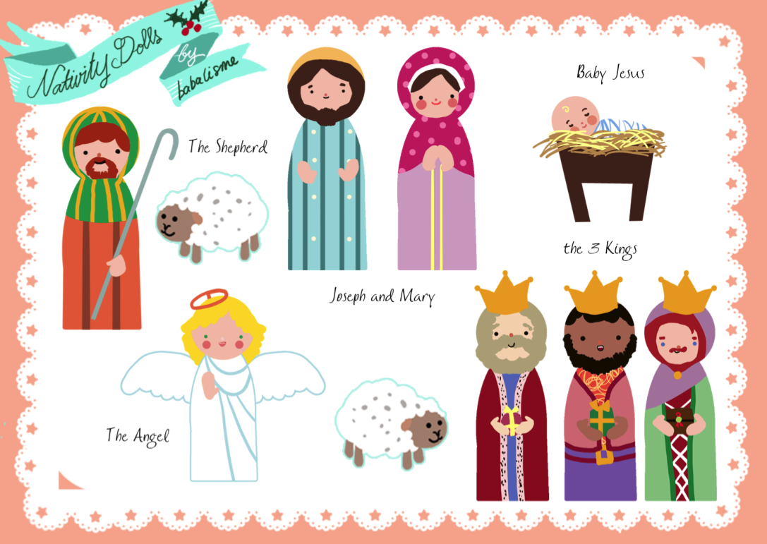 Zany image inside printable nativity scene