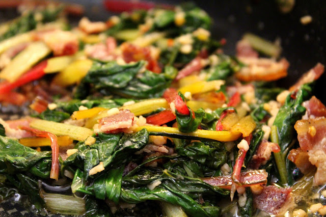Rainbow Swiss Chard with bacon from dontmissdairy.com