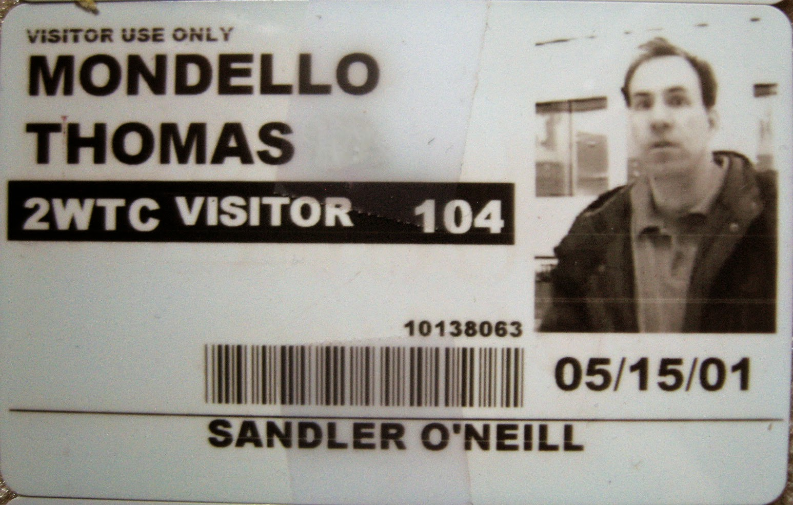 Tommy Mondello World Trade Center pass May 15, 2001