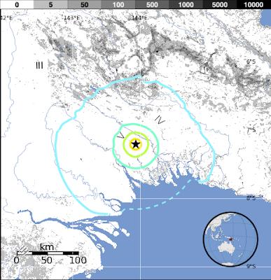 Epicentro sismo de 6,0 grados en Nueva Guines, 08 de Diciembre de 2012
