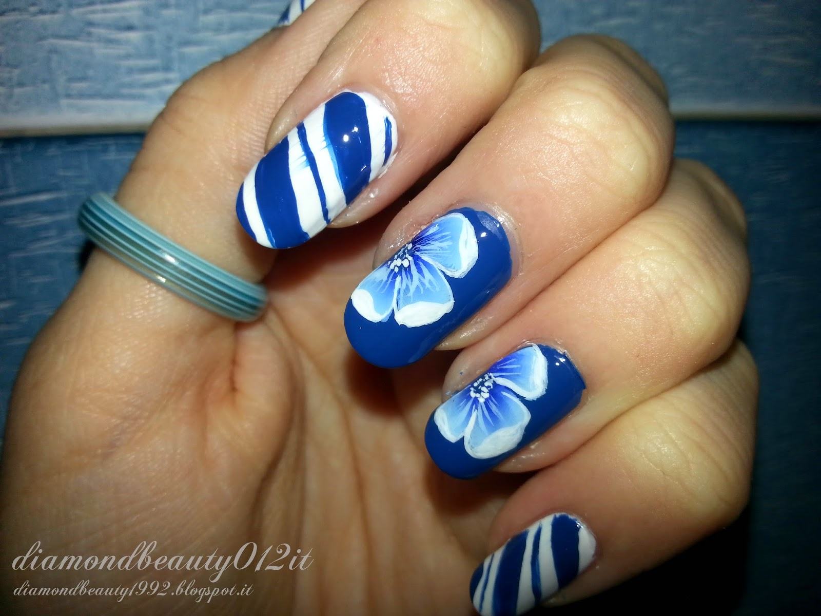 navy marine nails