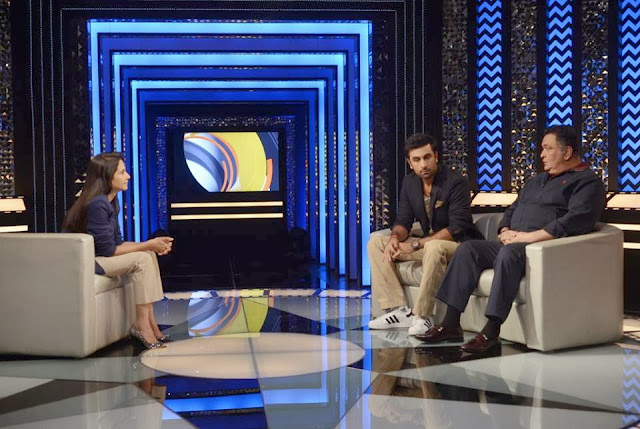 Ranbir Kapoor and Rishi Kapoor on the sets of The Front Row With Anupama Chopra