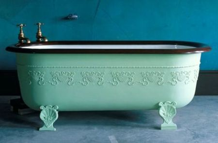 beautiful old claw foot tub painted aqua the detailing is stunning and the shell legswell what more can i say