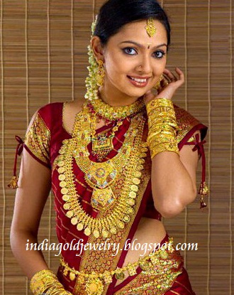 with gold necklace broad long haram long gold kerala kasulaperu broad