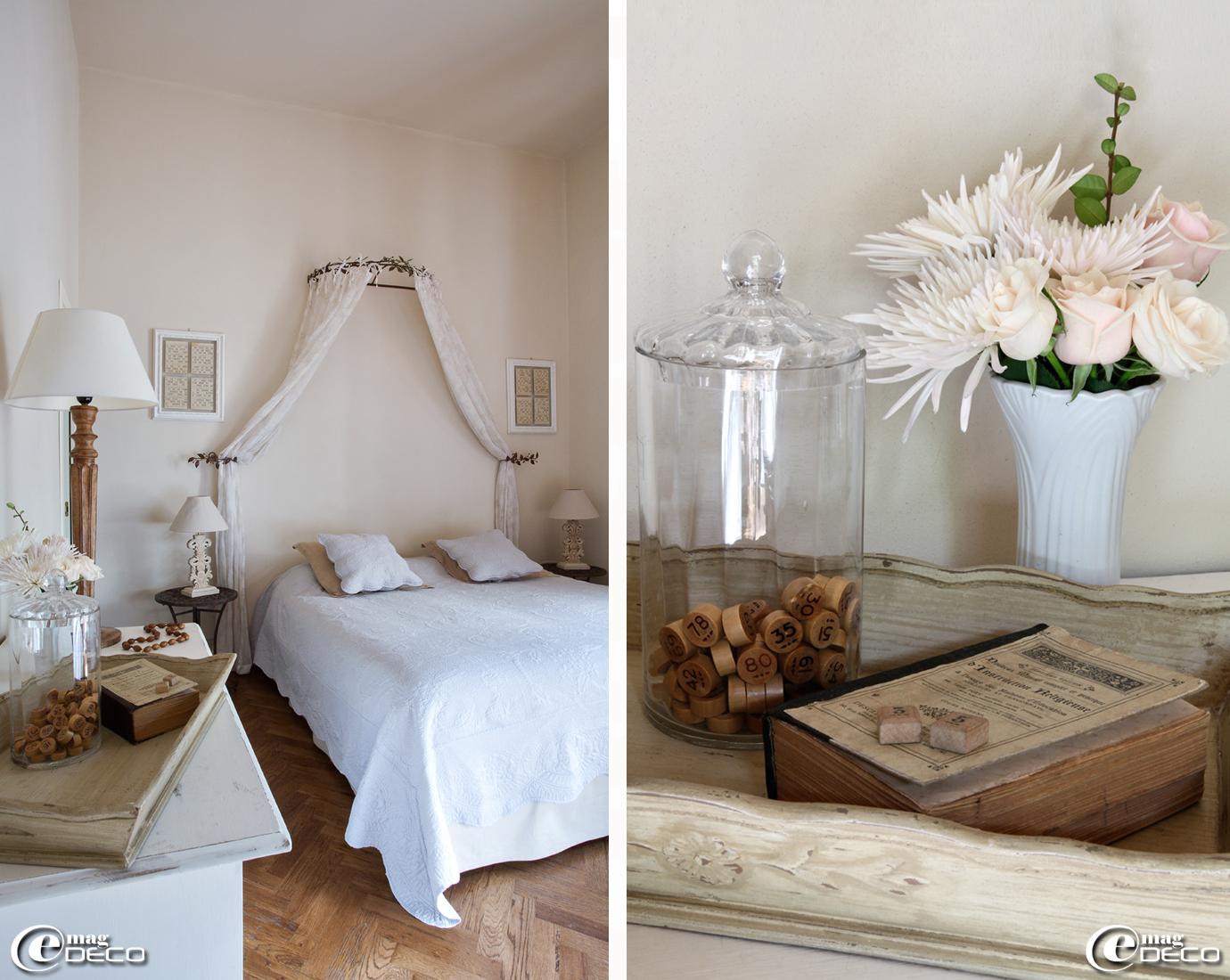 Chambre 'Buena sorte' décorée de cartons et jetons de Loto, de la maison d'hôtes de charme 'Valdirose' près de Florence