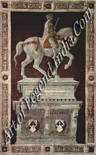 Sir John Hawkwood, This commemorative fresco of the English condottiere was painted for the Duomo in 1436. Uccello probably based the horse on the antique horses of St Mark's. The decorative border was added in the 16th century.