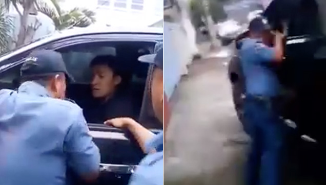 After the non-stop honking, the Driver tried to escape and the Police Officer was caught hanging on the car window.