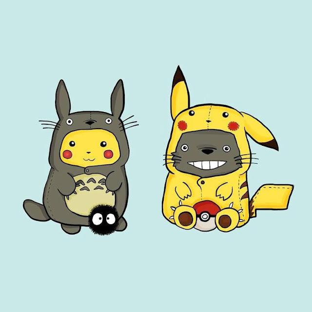 Pikachu disfrazado de Totoro y viceversa