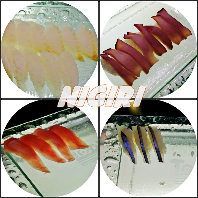 Nigiri sushi with thinly sliced raw fish (sashimi) over pressed vinegared rice | www.meheartseoul.blogspot.sg