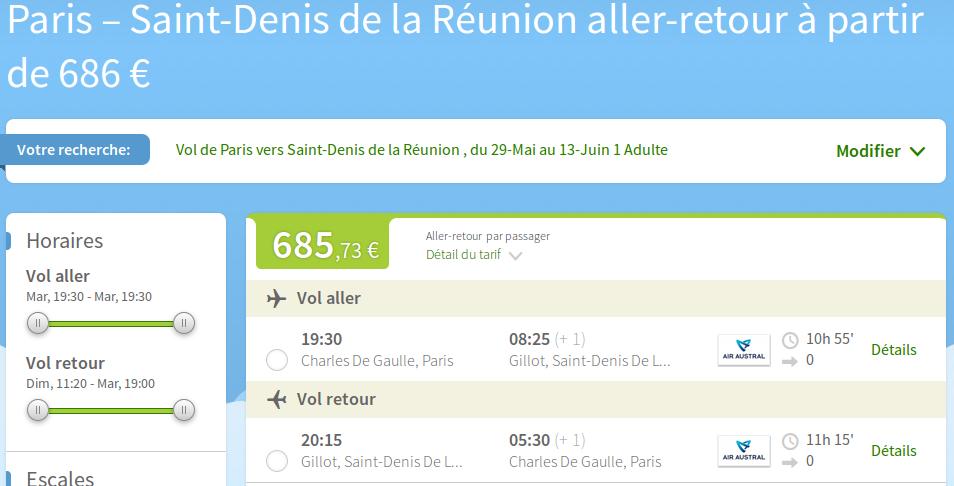 Billets pas chers vers la Réunion , moins de 700 euros