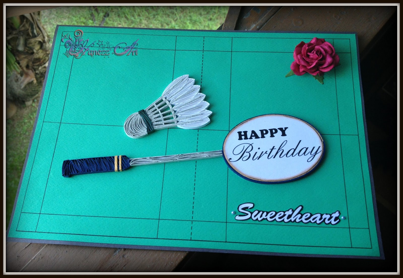Hanezz Art Card Badminton With Rose