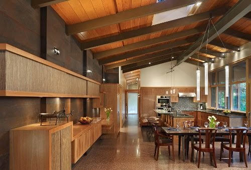wooden modern house with kitchen and dining room combo