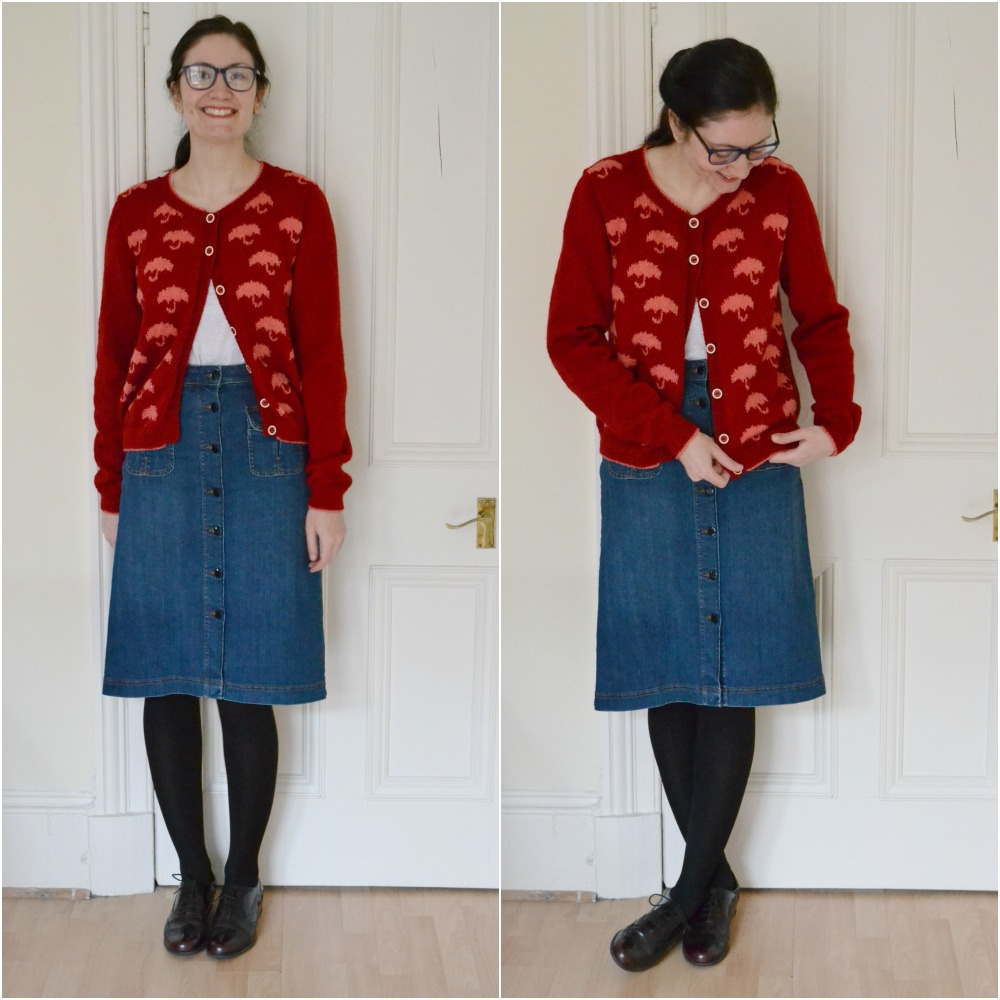 umbrella cardigan knitted red pluie interweave knits button denim skirt M&S brogues