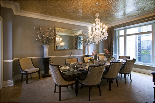 Transitional dining room design ideas room design ideas for Mirror ideas for dining room