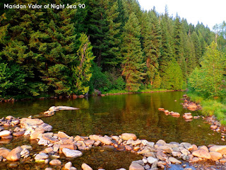 Pictures from the Idaho Mountains; I snapped a picture of the shallow river while watching the sun set. Night Sea 90.