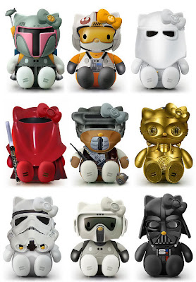 Hello Kitty models in Star Wars costumes cosplay