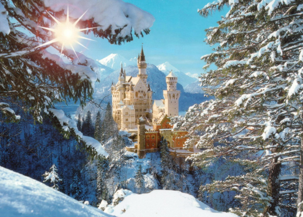 Neuschwanstein, castle, germany, winter, snow, wonderland, beautiful