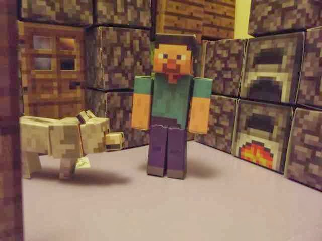 Minecraft Paper Craft Steve and the wolf