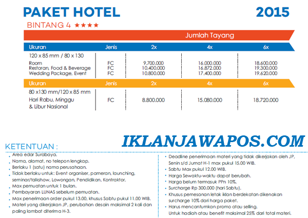 Pasang Iklan Jawa Pos Display Paket Hotel 2015