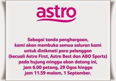Siaran Astro Free Untuk 3 Hari