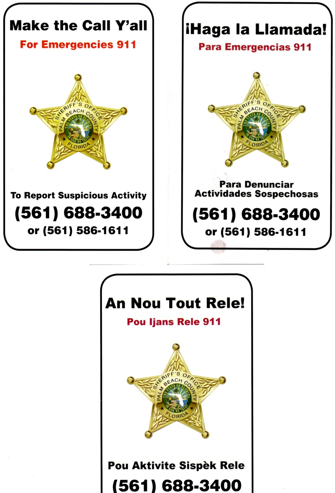 Monday: Community meeting on crime with PBSO Cpt. Baer.