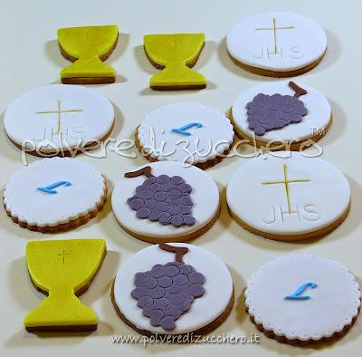 biscotti decorati per la comunione: ostia, calice, uva