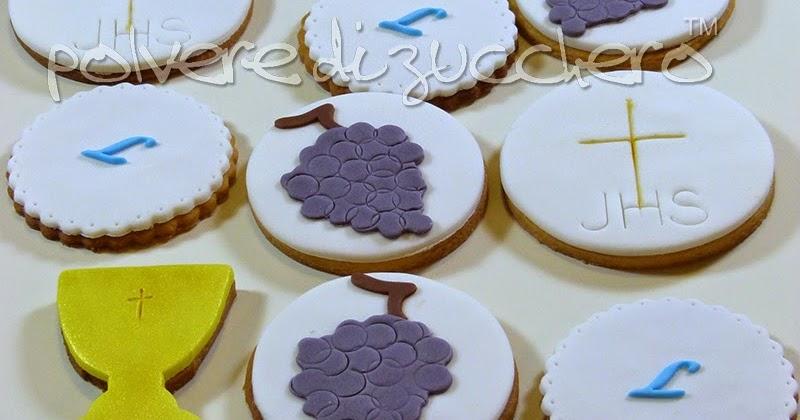 Biscotti decorati per la comunione ostia calice uva for Decorazione torte e cupcake