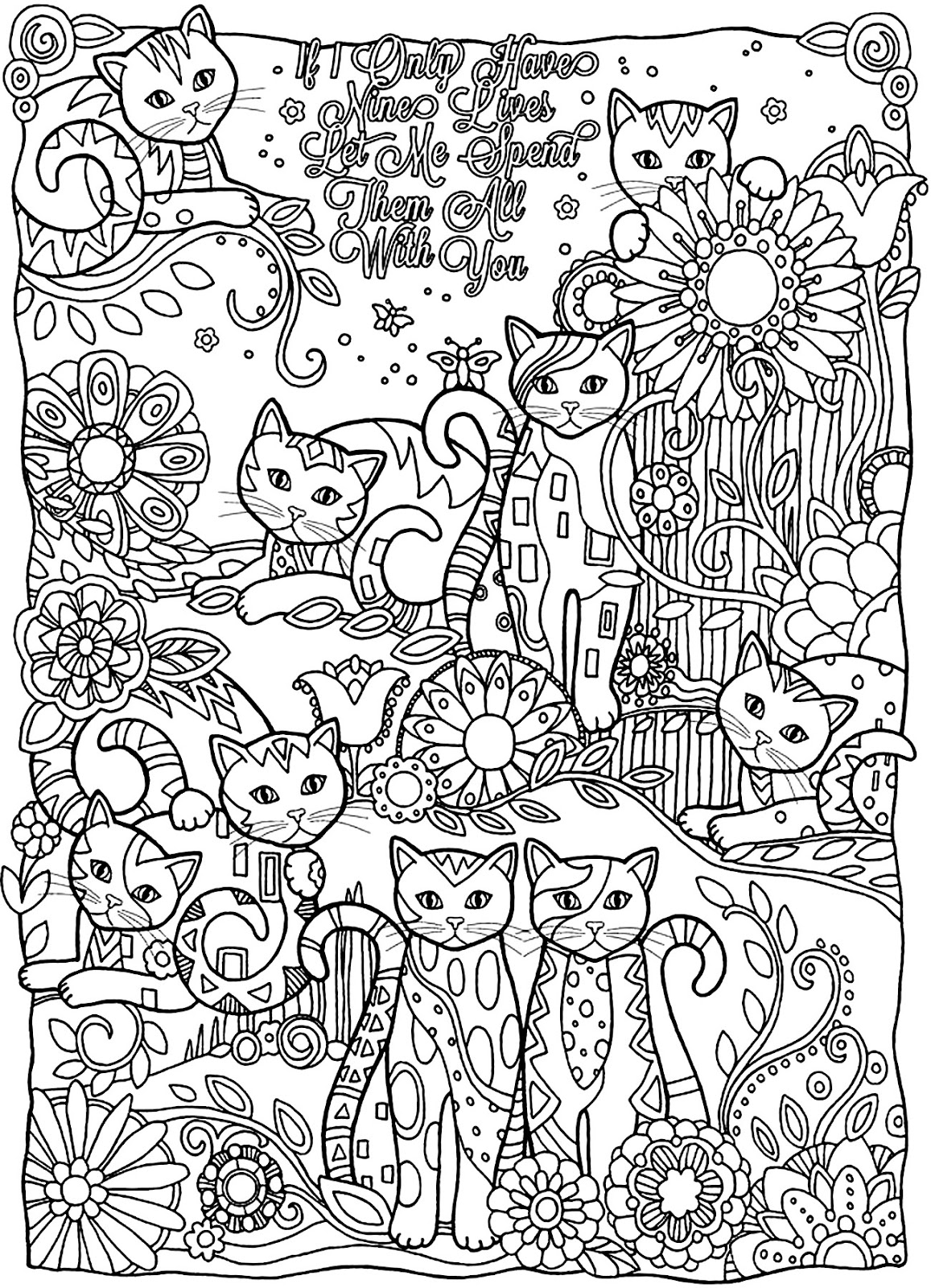 Coloring Page World If I Only Have Nine Lives Let Me