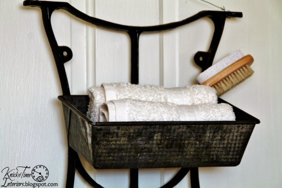 Repurposed Antique Sewing Machine Table Legs into Wall Bins by knickoftimeinteriors.blogspot.com