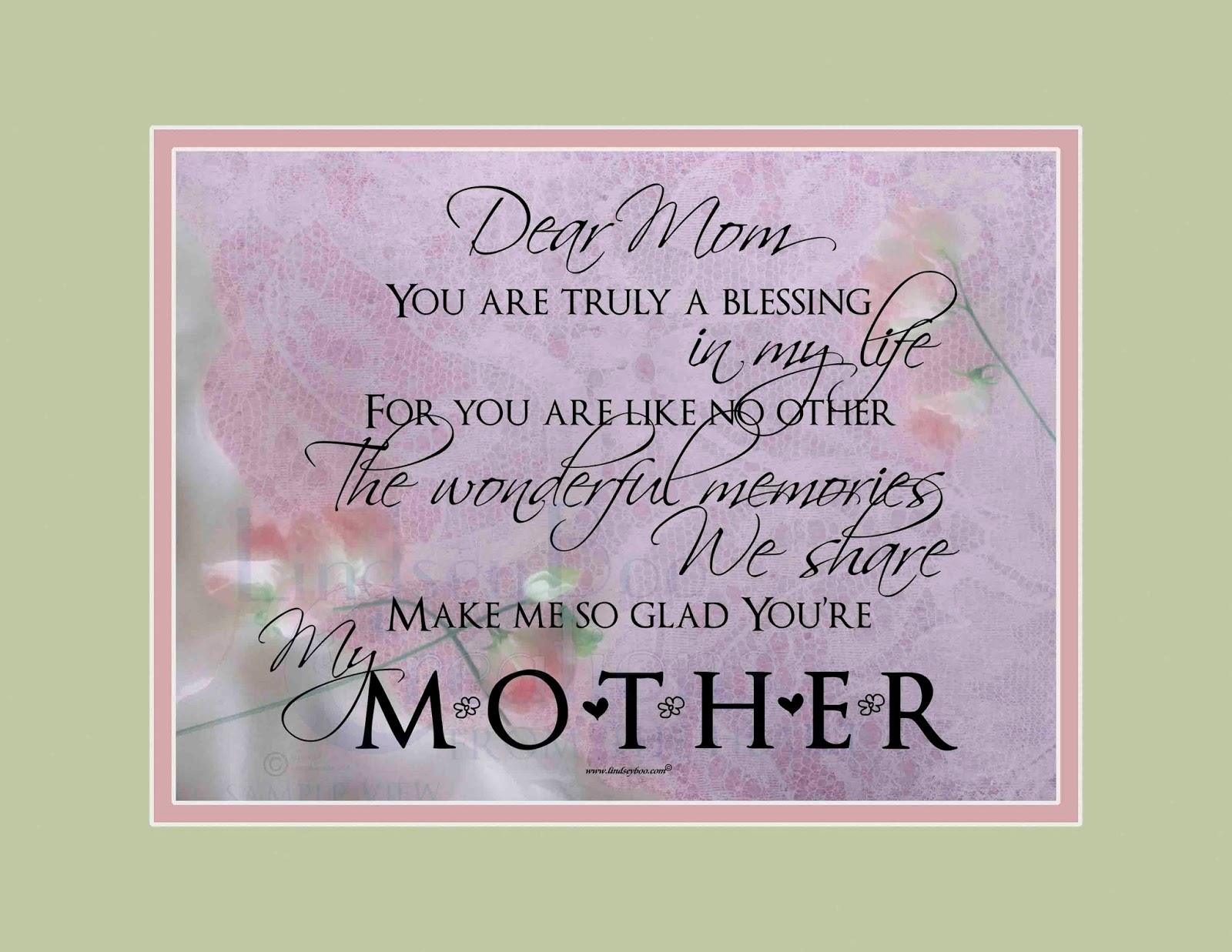 Dear Mom Poem Mother's day gifts
