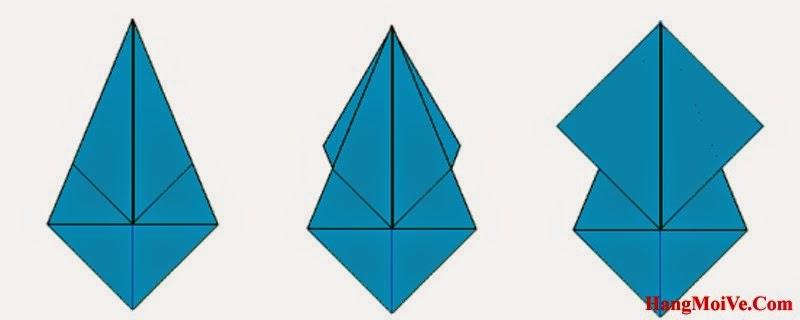 Bước 6: Lật 2 cạnh ở lớp phía sau tờ giấy ra đằng trước, cách làm giống như hình 2.
