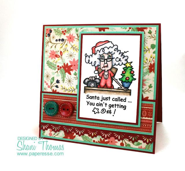 Christmas card with Bugaboo Digi Stamps Stella Christmas Santa Called digital stamp focal image.