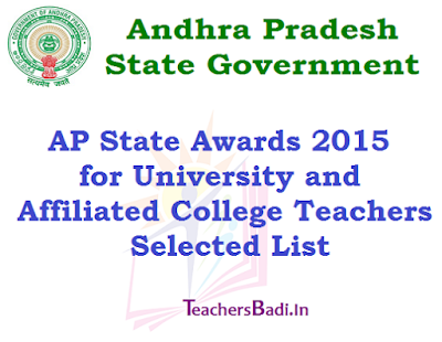 AP State Awards 2015,University,Affiliated College Teachers