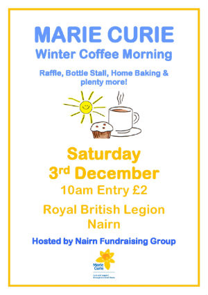 Marie Curie Coffee Morning Sat 3rd in the Legion 10 am