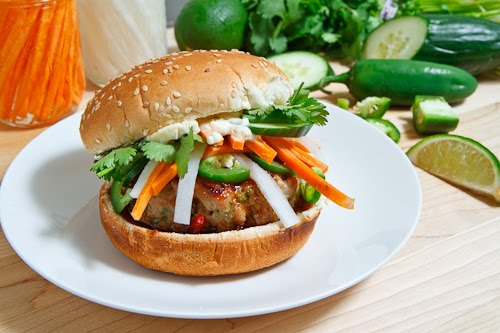 Banh Mi Burgers with Vietnamese Caramel BBQ Sauce