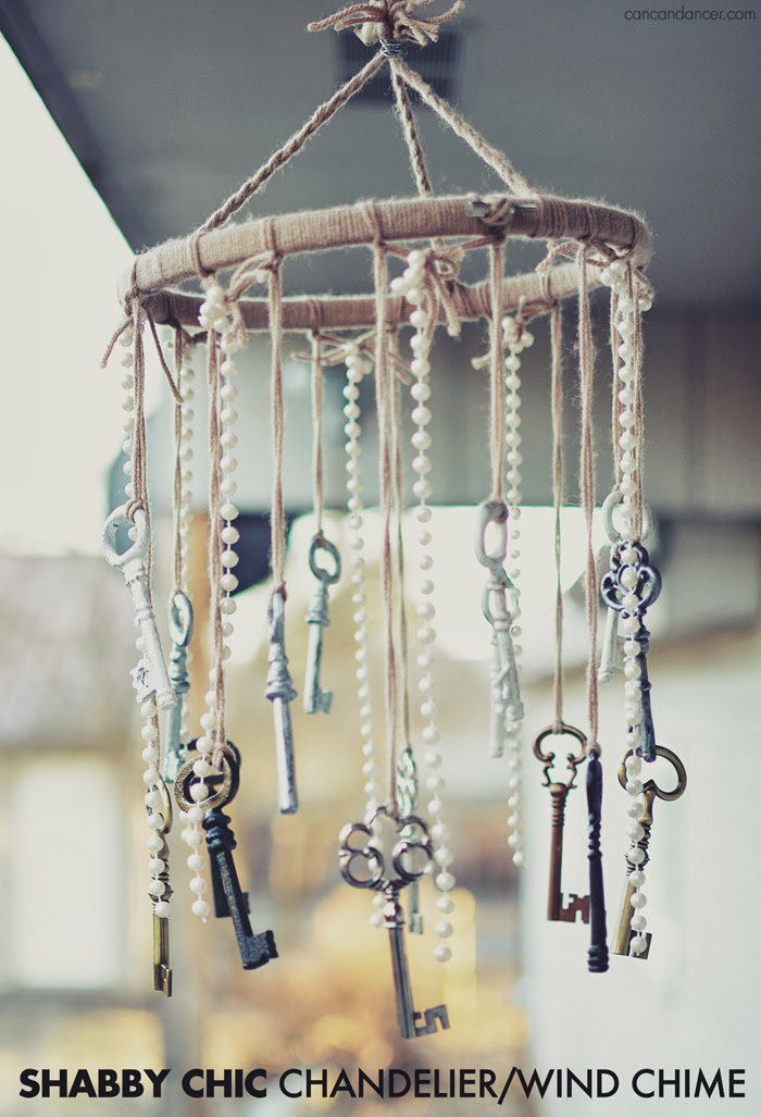 Shabby Chic Wind chimes made out of painted vintage keys