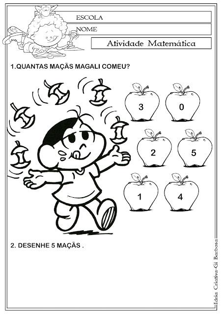 Atividade Matemática - Número 5 Turma da Mônica