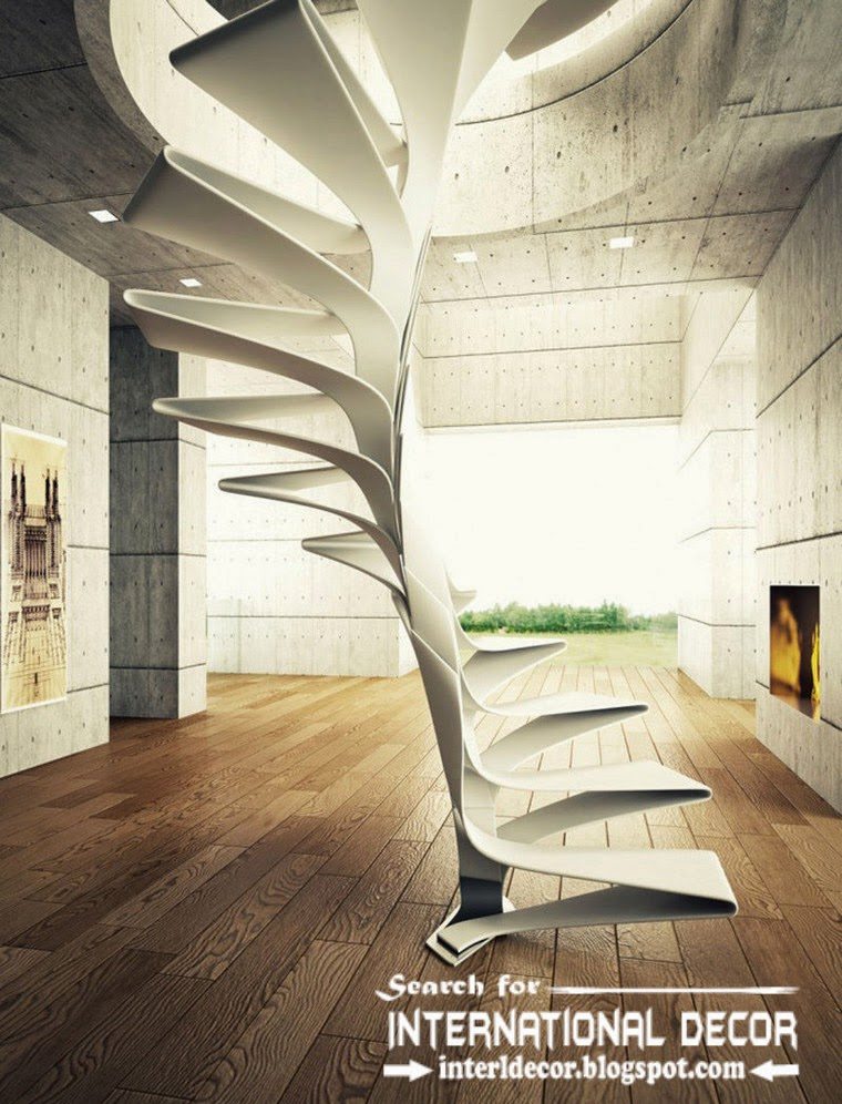 futuristic stairs design 2015 and steel staircase for modern interior, spiral stairs