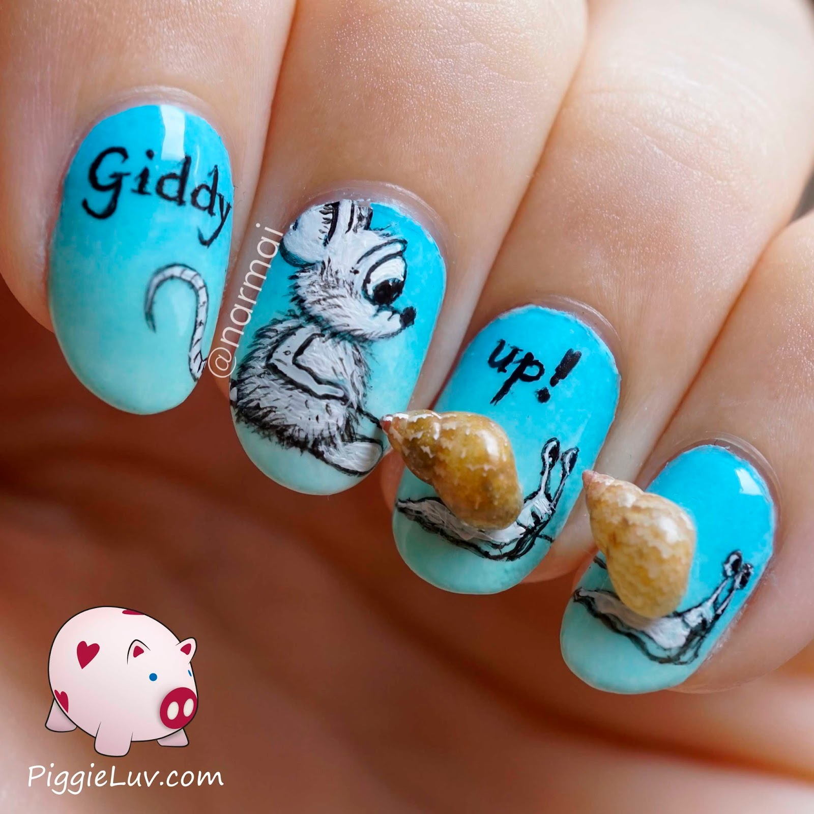 PiggieLuv: Giddy up 3D snails nail art