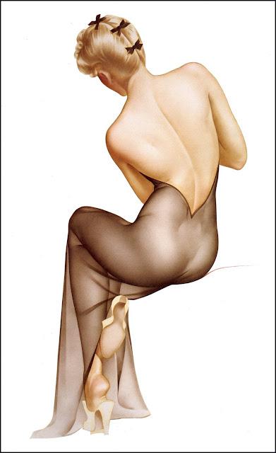 illustration glamour pin up sexy arlberto vargas lingerie trnasparente noire