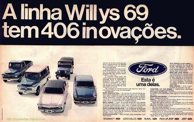 Propaganda da Linha Willys (Ford) em 1969. Clássicos da lata dura: Itamaraty, Aero-Willys, Rural, Pick-up e Jeep.