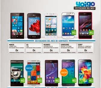 Precios de todos los móviles de contrato Yoigo en octubre 2014