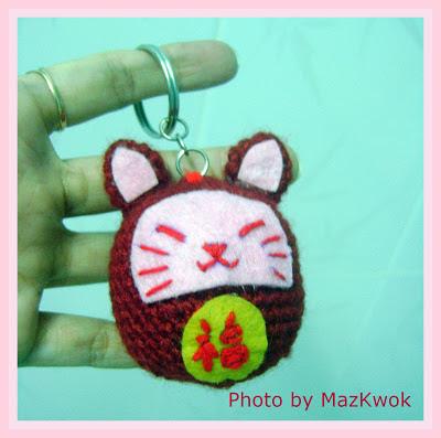 crochet keyring, lucky cat amigurumi