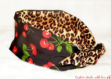 cherry and leopard revrsible bandana