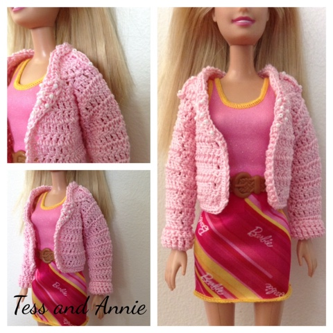Tess and Annie: Free Crochet Pattern - Barbie Biker Jacket