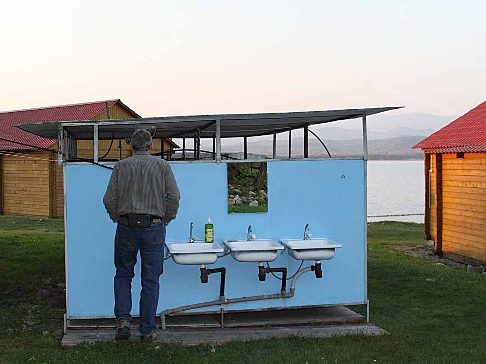 outdoor sinks at Vostok Marine Station in Russia