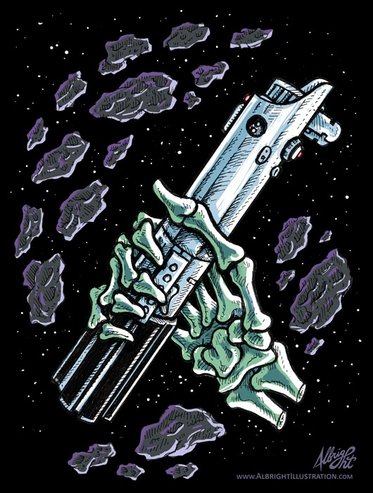 Luke's Hand & Lightsaber by Brad Albright © 2014 - www.AlbrightIllustration.com