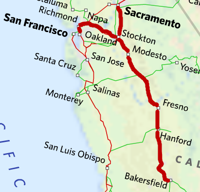 Driving distance from Fresno to Sacramento is 170 miles