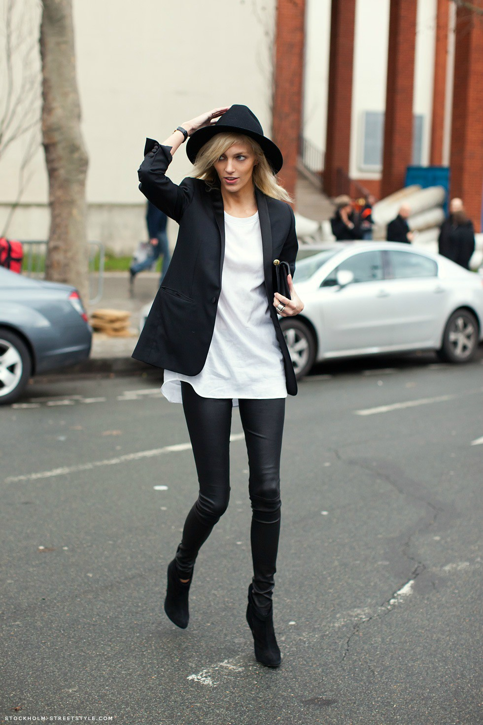 model street style anja rubik dons boyish tailoring the