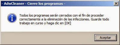 Mensaje advertencia AdwCleaner